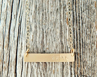 Gold Filled Bar Necklace, Sterling Silver Bar Necklace, Charm Necklace, Hand Stamped Gold Necklace, Gold Filled Shine Necklace
