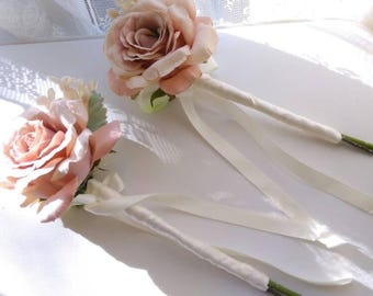 Silk wedding wand. Bridesmaid. Flower girl Pink blush Rose.
