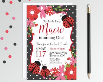 Ladybug Birthday Invitations - Ladybug Party - Ladybug 1st Birthday - Lady Bug Girls Birthday Invitation - Printable Birthday Invitation