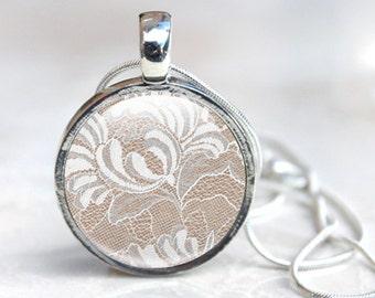 Glass Pendant, Lace Jewellery,  Lace necklace, Lace pendant, photo jewellery, photo pendant, picture pendant, floral lace pattern