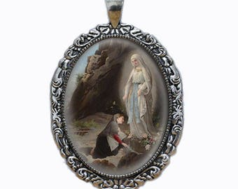 Our Lady of Lourdes Vintage Religious Catholic Medal Pendant Jewelry Virgin Mary At Sacred Spring