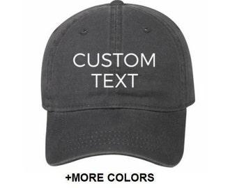 CUSTOM TEXT Garment Washed Cotton Twill Hat | Custom Embroidered Hat, Custom Hat, Personalized Hat, Unstructured Hat, Dad Hat, Custom Cap