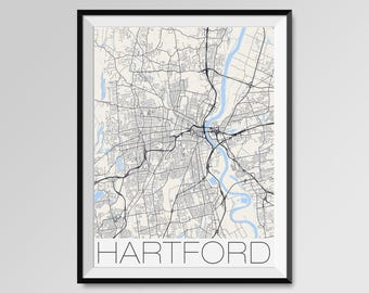 HARTFORD Connecticut Map, Hartford City Map Print, Hartford Map Poster, Hartford Map Art, Hartford gift, Custom city maps, Connecticut map