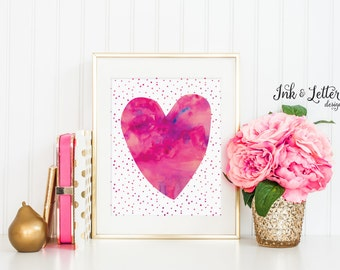 Heart Printable - Hot Pink Wall Art - Pink Nursery Decor - Heart Artwork - Watercolor Print - Instant Download - 8x10 - Girl Nursery Decor