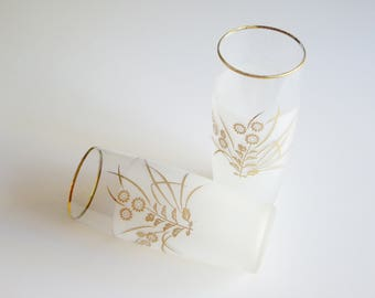 Vintage, Drinking Glasses, Tumblers, Frosted, Gold and White, Flowers, Gold Rim, 10 oz, Mid Century Modern, Barware, Tall Drinks, Pair