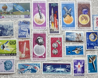 Lot of 20 pcs Mix Space Postage Stamps,Gagarin,USSR Post Stamp,Appollo 11,Briefmarke,USA J.Glenn