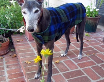 Greyhound Dog Coat, XL Dog Coat, Green, Navy, Royal Blue, and Black Plaid Fleece with Green Fleece Lining