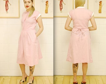 1980's P.T. PUNCHES Pink Striped Cotton Dress / Summer Garden Dress / Rare Collectable Retro