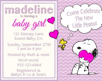 Snoopy baby shower etsy snoopy peanuts baby shower invitation digital printable baby girl filmwisefo Choice Image