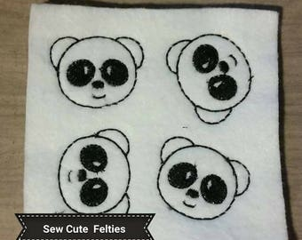 Panda Feltie - Sheet of 4 Panda Felties - Panda - Animals - Felties -Embroidered Felt Appliques - Hair Bow Centers
