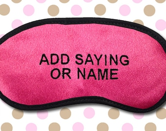 Custom Made Personalized Hot Pink Embroidered Eye Mask - favorite on pinterest tumblr instagram polyvore
