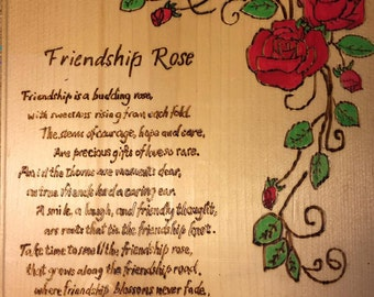 READY TO SHIP: Friendship Rose Wood Plaque | Wood Decor