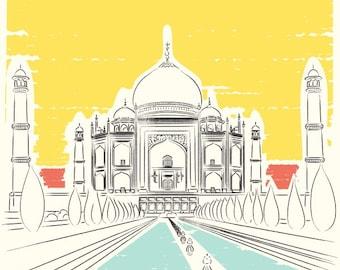 Travel poster, India Art Print, Taj Mahal, INDIA Travel Poster, Seven wonders, Landmarks, Adventure Outdoors, Travel Art, Agra India art