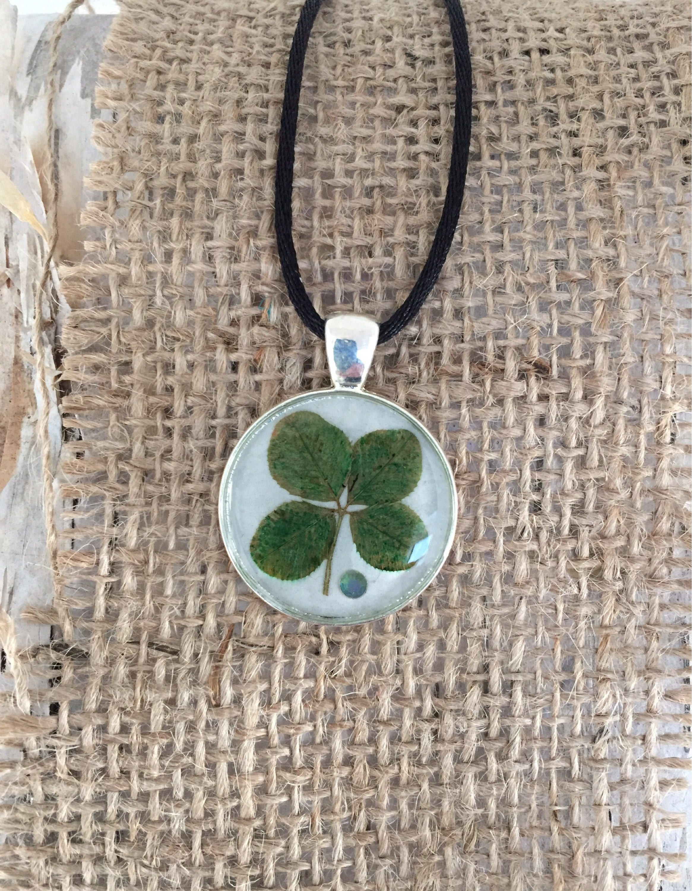 four pendant silver leaf clover jewelry lucky charm pin necklace
