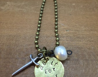 Pearl Steven Universe Inspired Hand Stamped Pendant