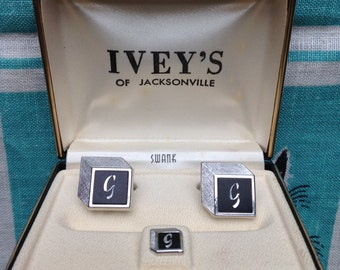Vintage 60's SWANK Monogram G cuff links silver tone in gift box