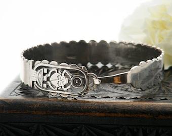 Vintage Sterling Silver Scarab Bangle | Egyptian Sterling Silver Bangle | Vintage 925 Egyptian Revival Arm Wear | Egyptology, Hieroglyphics