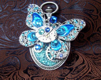 Steampunk Pin (P809) Butterfly Brooch, Hand Painted Acrylic, Gears and Swarovski Crystals, Teal, Light Blue, Aqua, Silver, Aurora Borealis