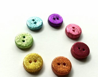 Set of 4 Polymer Clay Rainbow Glitter Buttons - Fully Functional - Choose From 7 Colors