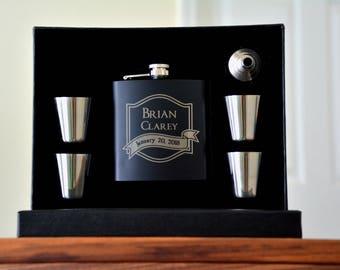 Personalized Gift for Men, Personalized Flask, Custom Mens Gift, Flask, Groomsman Gift, Shot Glass, Groomsmen Gift, Best Man Flask Ushers