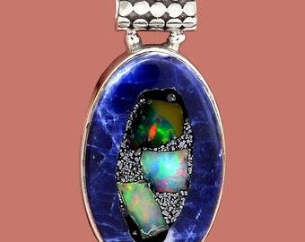 Ethiopian Opal In Sodalite Sterling Silver Pendant