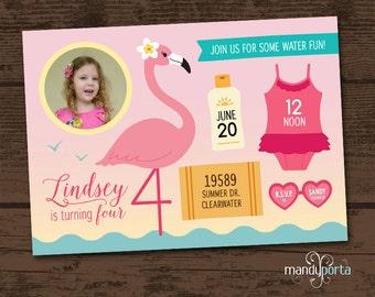 Pink Flamingo Girls Birthday Party Invitation DIY Custom Digital Printable Card with Photo -- Water / Pool / Beach / Summer Parties