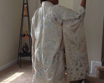 "Vintage Japanese Traditional ""Uchikake"" Formal Off-White Wedding Kimono"