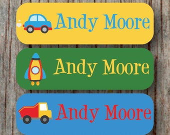 56 Personalized Waterproof Child Name Labels Daycare Name Labels Dishwasher Safe Stickers Custom Cars Boy Baby Bottle Sippy Cup Label  -Andy