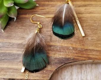 Wild Feather Wisp Earrings // 14k Gold Dangles