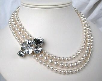 White Pearl Necklace, Three Strand Wedding Necklace, Sparkling Rhinestone, Silver, Handmade, Shauna