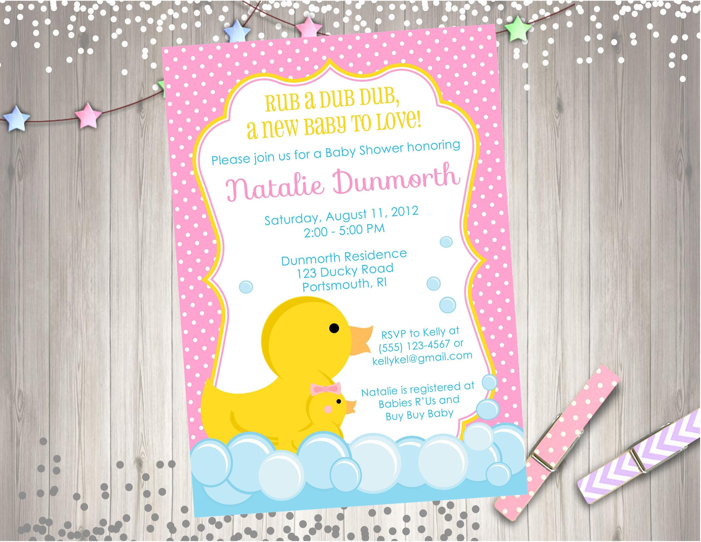 Girl Rubber Duck Baby Shower Invitation Invite Baby Sprinkle