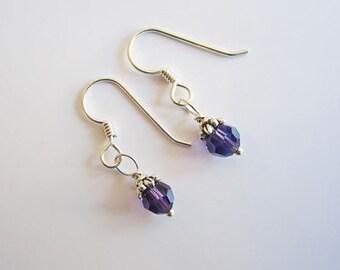 Purple Swarovski 6mm Crystal Earrings
