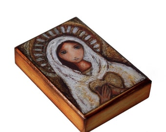 Blessed Mother -  Giclee print mounted on Wood (6 x 8 inches) Folk Art  by FLOR LARIOS