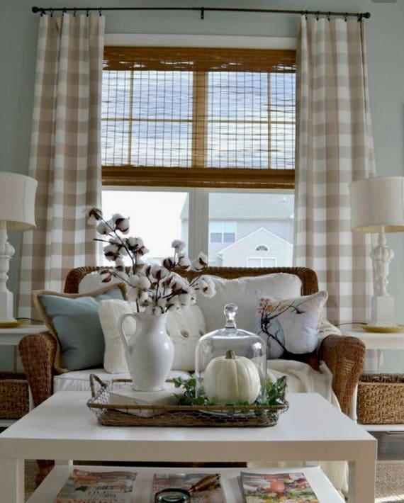 Escape Gray Kitchen: Beige Buffalo Check Drapes Curtains Tan Ecru Custom Lengths