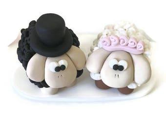 Sheep Wedding Cake Topper, Personalised Wedding Cake Decoration, Sheep Cake Topper, Bride and Groom, Polymer Clay Topper, Wedding Keepsake