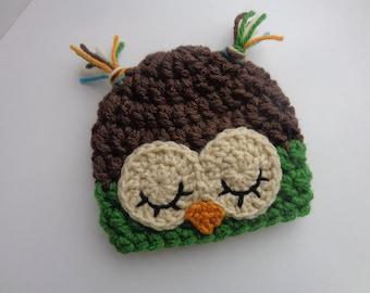 Newborn Baby Crochet Sleepy Owl Hat, Brown and Green, Photo Prop Baby Boy Baby Girl