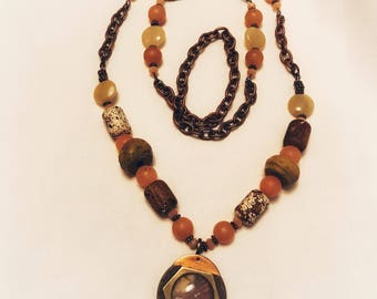 Convertible metal and beaded stone necklace