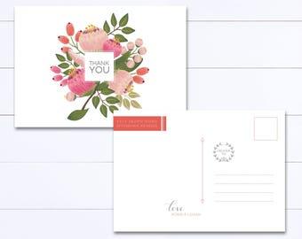 Printable Thank You Postcard - Thank You Postcard Wedding - Thank You Postcards - Floral Printable Thank You - Wedding Postcard