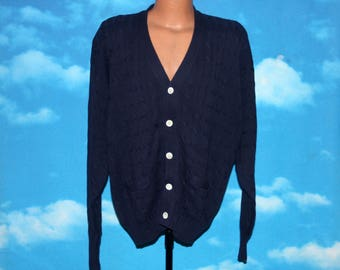 Polo Ralph Lauren Cable Knit Navy Blue Deadstock New with Tags Cardigan XL Vintage 1980s