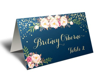 Wedding Place Cards Printable, Wedding Place Cards, Gold Wedding Place Cards, Wedding Place Card Template, Navy Wedding Place Cards, Custom