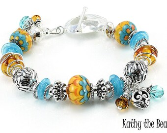 Lampwork Bracelet - Lampwork Blue and Yellow Petal and Bali Silver Bead Bracelet - KTBL