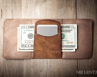 Trifold Leather Wallet, Trifold Wallet, Mens Trifold Wallet, Minimal Trifold Wallet, Simple 030