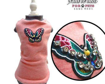 Sweatshirt Vest with embroidered butterfly patch for pets. Sizes: XS-S-M-L-XL. S-M for Dachshund
