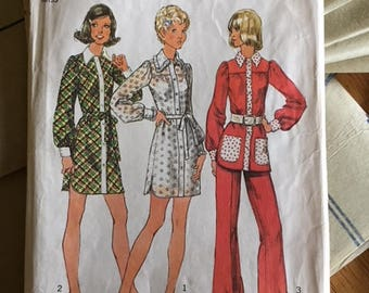 1972 #5402 Simplicity - Misses' Mini-Dress or Smock-Top & Pants