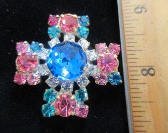 Czech Vintage Style Rhinestone Glass Button   Blues Pinks Crystal