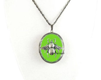 Bee Pill Box Necklace Inlaid in Hand Painted Lime Green Enamel Antique Silver Oval Locket Necklace with Color and Personalized Options