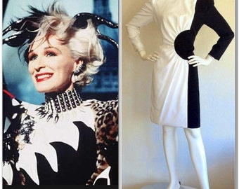 Vintage Carolina Herrera Cruella de Vil Dress Black & White Cruella Deville Color Block 101 Dalmatians Avant Garde Long Sleeve Small