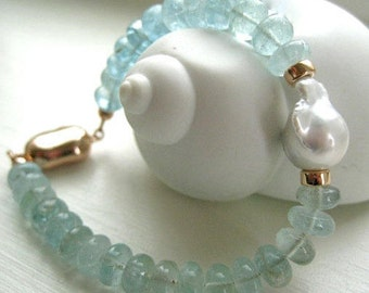 "Aquamarine and Baroque Pearl Bracelet-Rose Gold Vermeil and Aquamarine-""Cloud Nine"""
