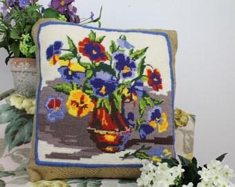 Needlepoint Cushion/Pansy Needlepoint/Needlepoint on Hessian/Embroidery Cushion/ Decorative Cushion (7J)
