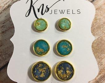 Gold Flake Earrings, Shades of Blue, 8mm, 10mm, 12mm, Druzy Studs, Blue Earrings